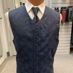90's Retro Full back Vest, Tie & Pocket Square Set